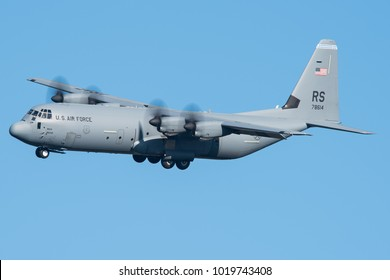POWIDZ, POLAND - OCTOBER 10: United States - US Air Force (USAF) Lockheed Martin C-130J-30 Hercules landing at Powidz Airbase - EPPW. October 10, 2017.