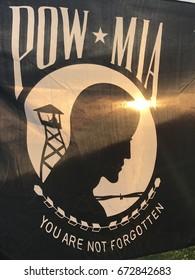 POW/MIA flag in sunset
