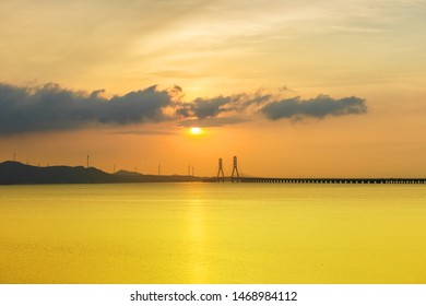 poyang lake second bridge landscape in early morning, China