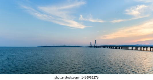 poyang lake second bridge panorama at dusk, jiangxi province, China