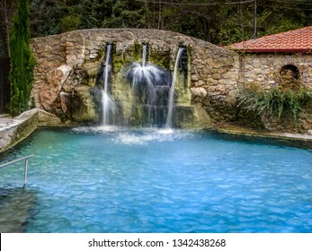 POZAR THERMAL BATHS/GREECE - May 5, 2012: Outdoor thermal springs at Pozar Thermal Baths, in Pella region, Macedonia, Greece.