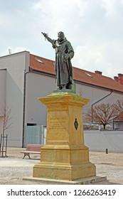 POZEGA, CROATIA – March 27, 2018: Statue of friar Luka Ibrisimovic, who led an uprising against Ottoman forces in Slavonia, Croatia