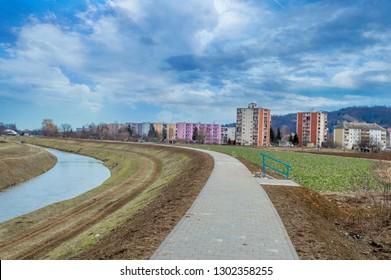 Pozega,Croatia- February 2, 2019: Promenade in Pozega, Slavonia region