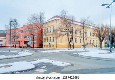 Pozega,Croatia- January 27, 2019: Elementary School Julije Kempf in Pozega, Slavonia region