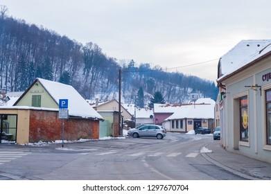 Pozega,Croatia- January 27, 2019: Sokolova  street in Pozega, Slavonia region