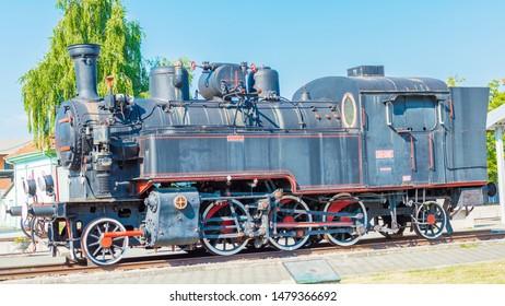 Pozega,Croatia- May 28, 2019:  Steam locomotive at the railway station in Pozega, Slavonia region