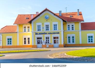 Pozega,Croatia-July 21, 2019: Railway station in Pozega, Slavonia region