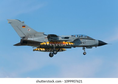 POZNAN- KRZESINY, POLAND - May 14, 2018: Nato Tiger Meet 2018 training day with Panavia Tornado ECR attack aircraft fighter from Germany.