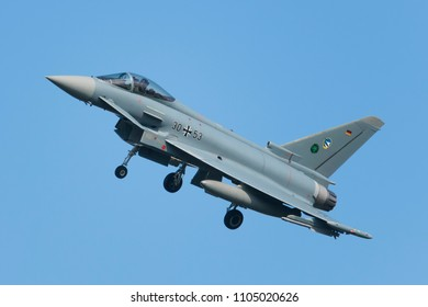 POZNAN- KRZESINY, POLAND - May 18, 2018: Nato Tiger Meet 2018 training day with German Air Force Eurofighter Typhoon EF- 2000 multirole fighter during exercises.