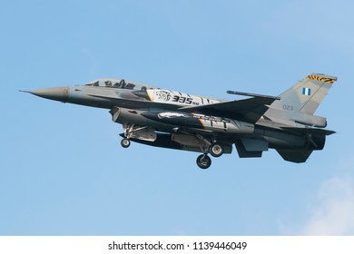 POZNAN- KRZESINY, POLAND - May 18, 2018: Nato Tiger Meet training day with F-16D Fighting Falcon multirole fighter from Greece.