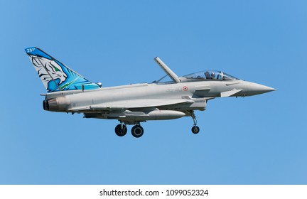 POZNAN- KRZESINY, POLAND - May 21, 2018: Nato Tiger Meet training day with Eurofighter Typhoon from Italy.