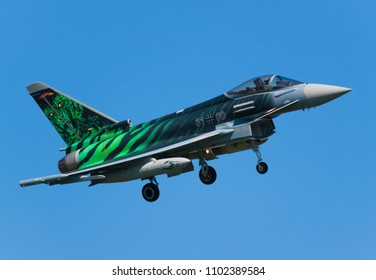POZNAN- KRZESINY, POLAND - May 21, 2018: Nato Tiger Meet training day with Eurofighter Typhoon EF- 2000 multirole fighter from Germany.