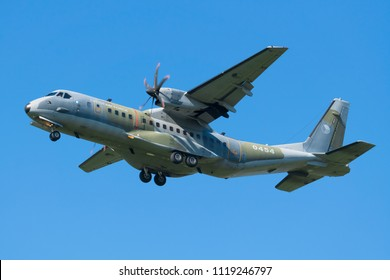POZNAN- KRZESINY, POLAND - May 21, 2018: Nato Tiger Meet 2018 training day with Czech Air Force CASA C-295M