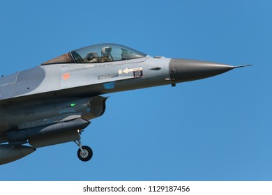POZNAN- KRZESINY, POLAND - May 21, 2018: Nato Tiger Meet 2018 training day with General Dynamics F-16 Fighting Falcon multirole fighter during exercises.