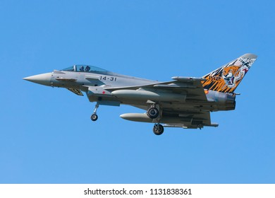 POZNAN- KRZESINY, POLAND - May 21, 2018: Nato Tiger Meet training day with Eurofighter Typhoon EF- 2000 multirole fighter from Spain.