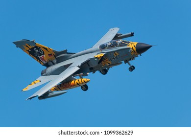 POZNAN- KRZESINY, POLAND - May 22, 2018: Nato Tiger Meet 2018 training day with Panavia Tornado ECR fighter from Germany.