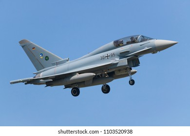 POZNAN- KRZESINY, POLAND - May 23, 2018: Nato Tiger Meet 2018 training day with German Air Force Eurofighter Typhoon EF- 2000 multirole fighter during exercises.