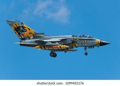 POZNAN- KRZESINY, POLAND - May 24, 2018: Nato Tiger Meet 2018 training day with Panavia Tornado ECR attack aircraft fighter from Germany.