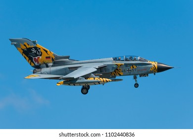 POZNAN- KRZESINY, POLAND - May 24, 2018: Nato Tiger Meet 2018 training day with Panavia Tornado ECR attack Air Force fighter from Germany.