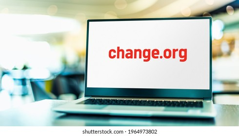 POZNAN, POL - APR 15, 2021: Laptop computer displaying logo of Change.org, an American petition website operated by for-profit Change.org, PBC