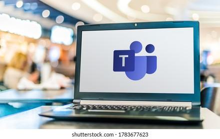 POZNAN, POL - APR 28, 2020: Laptop computer displaying logo of Microsoft Teams, a unified communication and collaboration platform
