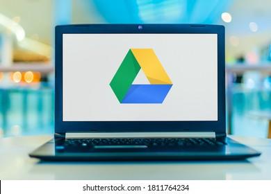 POZNAN, POL - APR 3, 2020: Laptop computer displaying logo of Google Drive, a file storage and synchronization service developed by Google