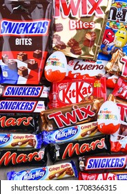 POZNAN, POL - APR 9, 2020: Variety of popular brands of confectionery products