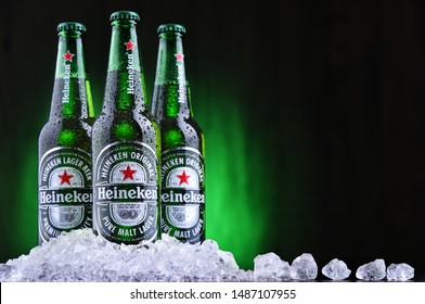 POZNAN, POL - AUG 22, 2019: Bottles of Heineken Lager Beer, the flagship product of Heineken International which owns over 125 breweries in more than 70 countries
