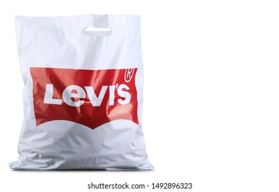 POZNAN, POL - AUG 28, 2019: Shoping bag of Levi's, a brand of an American clothing company known worldwide for its denim jeans