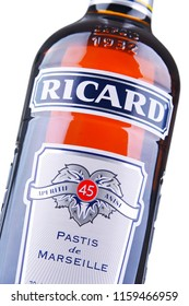 POZNAN, POL - AUG 8, 2018: Bottle of Ricard, a pastis, an anise and licorice-flavored aperitif, created by Paul Ricard in 1932