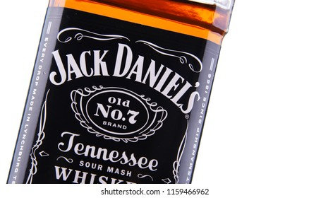 POZNAN, POL - AUG 8, 2018: Bottle of Jack Daniel's, a brand of the best selling American whiskey in the world,  produced by the Jack Daniel Distillery and owned by the Brown-Forman Corporation