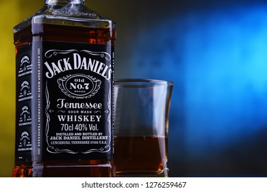 POZNAN, POL - DEC 12, 2018: Bottle of Jack Daniel's, a brand of the best selling American whiskey in the world,  produced by the Jack Daniel Distillery and owned by the Brown-Forman Corporation