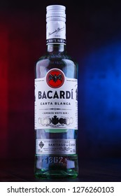 POZNAN, POL - DEC 12, 2018: Bottle of Bacardi white rum, a product of Bacardi Limited, the largest privately held, family-owned spirits company in the world, headquartered in Hamilton, Bermuda.
