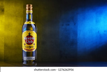POZNAN, POL - DEC 12, 2018: Bottle of Havana Club, a brand of rum created in Cuba in 1934, now one of the best-selling rum brands in the world