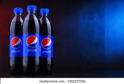 POZNAN, POL - DEC 12, 2018: Bottles of Pepsi, a carbonated soft drink produced and manufactured by PepsiCo. The beverage was created and developed in 1893 under the name Brad's Drink