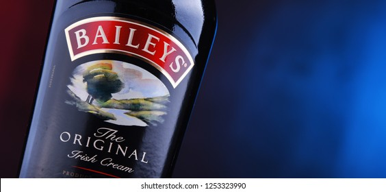 POZNAN, POL - DEC 7, 2018: Bottle of Baileys Irish Cream, an Irish whiskey- and cream-based liqueur, made by Gilbeys of Ireland. Brand currently owned by Diageo.