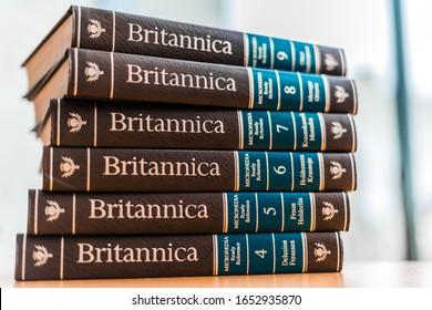 POZNAN, POL - FEB 03, 2020: Encyclopedia Britannica volumes in a public library
