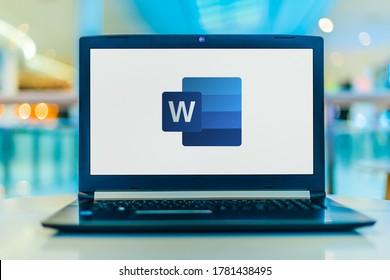 POZNAN, POL - FEB 18, 2020: Laptop computer displaying logo of Microsoft Word, a word processor developed by Microsoft