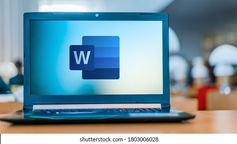 POZNAN, POL - FEB 19, 2020: Laptop computer displaying logo of Microsoft Word, a word processor developed by Microsoft