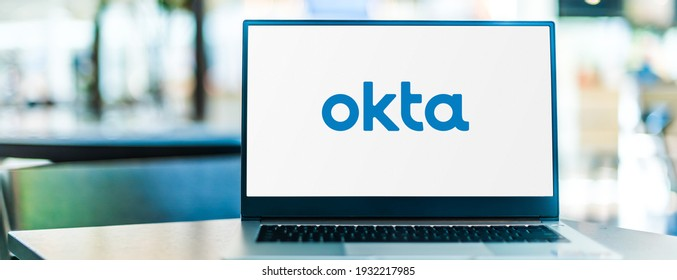 POZNAN, POL - FEB 6, 2021: Laptop computer displaying logo of Okta, a publicly traded identity and access management company based in San Francisco