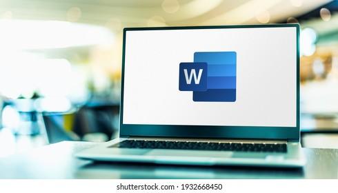 POZNAN, POL - FEB 6, 2021: Laptop computer displaying logo of Microsoft Word, a word processor developed by Microsoft