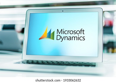 POZNAN, POL - FEB 6, 2021: Laptop computer displaying logo of Microsoft Dynamics, a line of enterprise resource planning (ERP) and customer relationship management (CRM) software applications