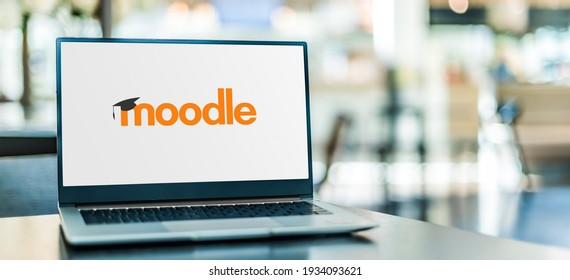 POZNAN, POL - FEB 6, 2021: Laptop computer displaying logo of Moodle, a free and open-source learning management system (LMS) written in PHP and distributed under the GNU General Public License