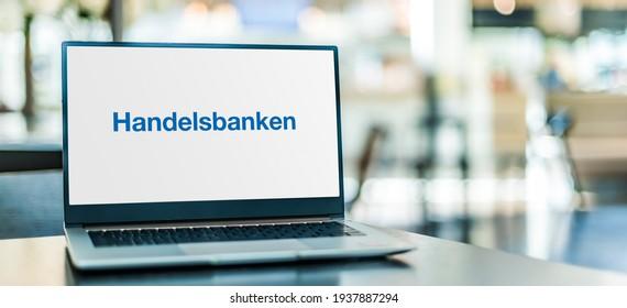 POZNAN, POL - FEB 6, 2021: Laptop computer displaying logo of Svenska Handelsbanken, a Swedish bank providing universal banking services