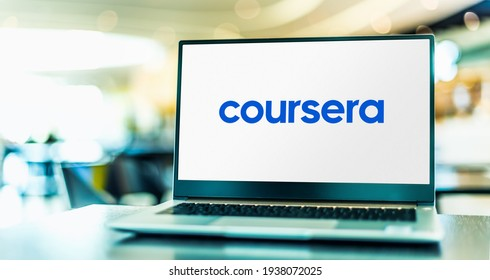 POZNAN, POL - FEB 6, 2021: Laptop computer displaying logo of Coursera, an American massive open online course provider