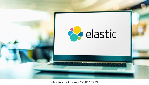 POZNAN, POL - FEB 6, 2021: Laptop computer displaying logo of Elastic NV, a company that builds SaaS solutions for security, search, logging, and analytics usage