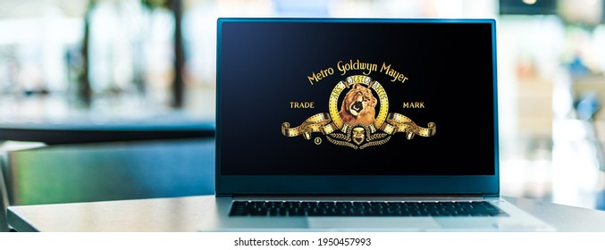 POZNAN, POL - FEB 6, 2021: Laptop  displaying logo of Metro-Goldwyn-Mayer Studios, an American media company, involved primarily in the production and distribution of feature films and tv programs