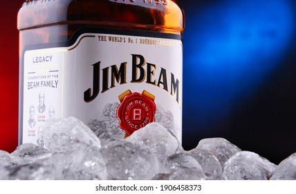 POZNAN, POL - JAN 22, 2021: Bottle of Jim Beam, one of best selling brands of bourbon in the world, produced by Beam Inc. in Clermont, Kentucky