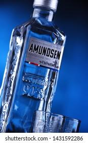 POZNAN, POL - JAN 24, 2019: Bottle of Amundsen Vodka, a brand of vodka produced by Arcus ASA, Norway's largest wholesaler of wine and liquor.
