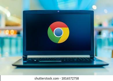 POZNAN, POL - JAN 30, 2020: Laptop computer displaying logo of Google Chrome, a cross-platform web browser developed by Google